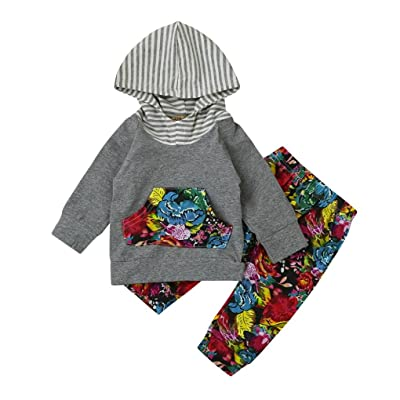 abff18bf8afb2 2pcs Toddler Baby Boy Girl Floral Striped Hooded Outfits Clothes Set  Tops+Pants