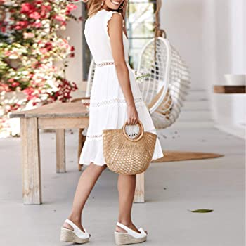 Overdose Vestido Blanco Sin Mangas Hollow out Lace Patchwork ...