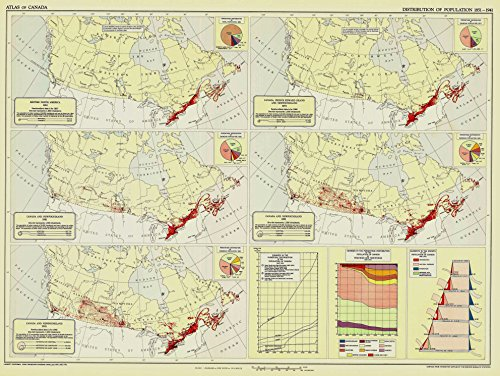 LAMINATED POSTER Map of Distribution of population in Canada 1851, 1871, 1901, 1921 and 1941 POSTER PRINT 24 X 36 1941 Poster Print
