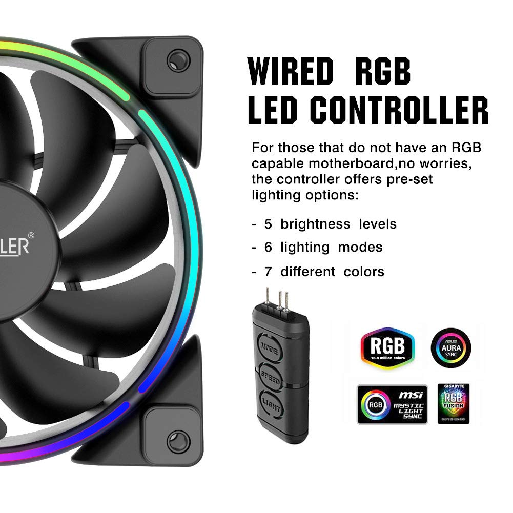 Pccooler 120mm Fan Moonlight Series, PC-3M120 RGB LED Computer Case Fan - PWM PC Cooling Fan - Dual Light Loop Quiet Fan/Multiple Light Modes with Controller for PC Cases, CPU Coolers (Multicolor) by PC Cooler (Image #5)