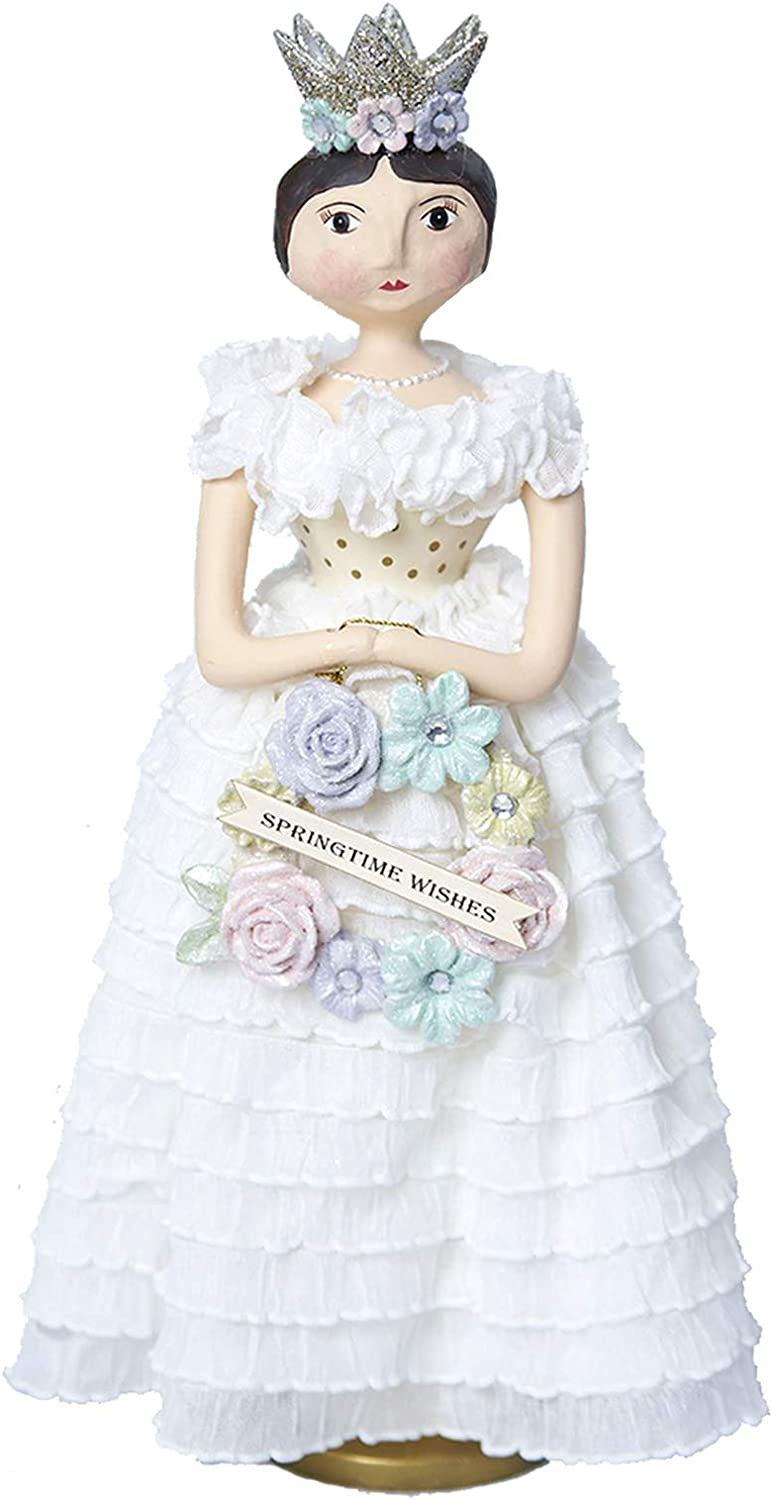 Largemouth Spring Queen Floral Wreath Easter Vintage Style Decor Figurine Doll