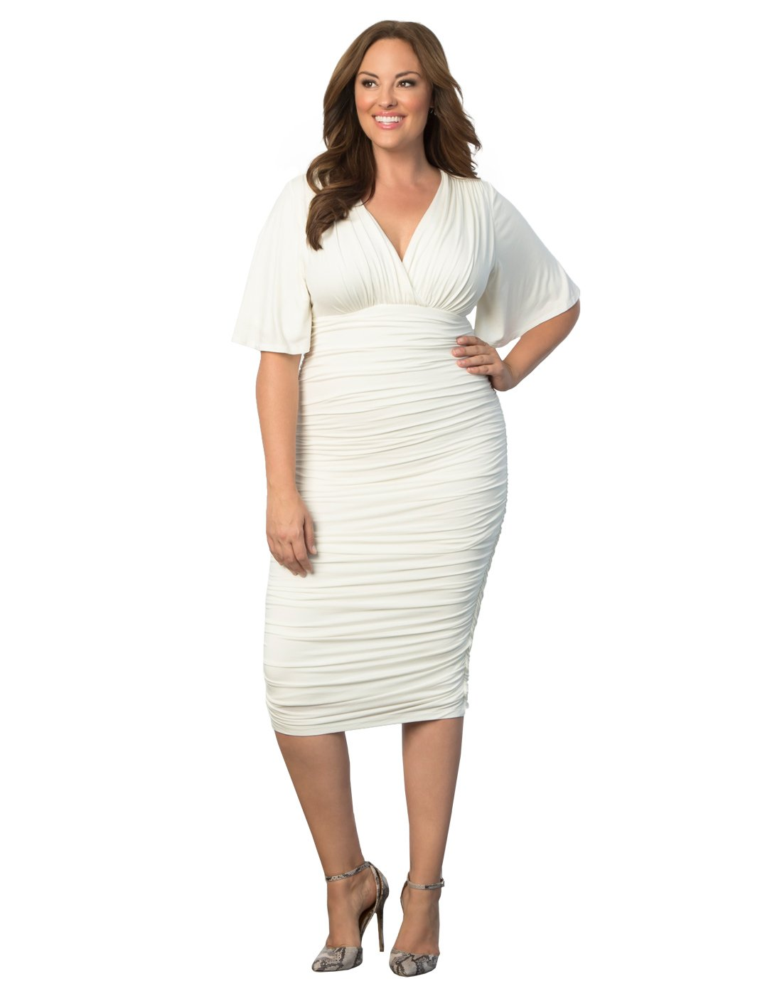 Kiyonna Women's Plus Size Rumor Ruched Dress 2x Ivory by Kiyonna Clothing