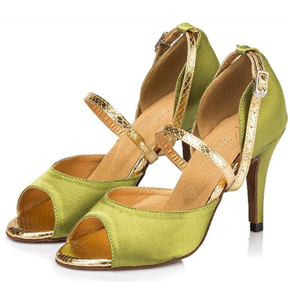 QWERTYUIOP Frauen Latein Tanzschuhe Seide Leise Unten High Heel Salsa Soziale Tanzschuhe Indoor-Sandalen