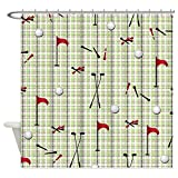 CafePress - Hole In One Golf Equipment On Plaid - Decorative Fabric Shower Curtain