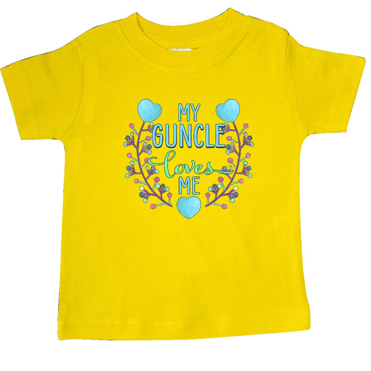 inktastic My Guncle Loves Me Painted Flowers and Hearts Baby T-Shirt