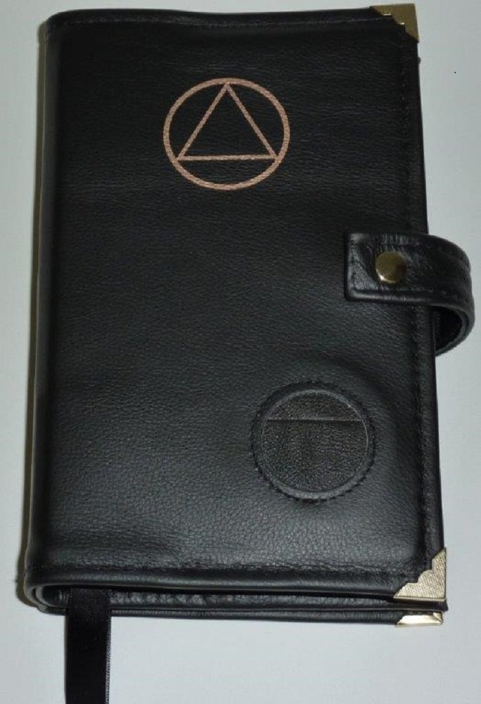Culver Enterprises Black Leather Double AA Alcoholics Anonymous Big Book & 12 Steps and 12 Traditions Book Cover Symbol and Medallion Holder