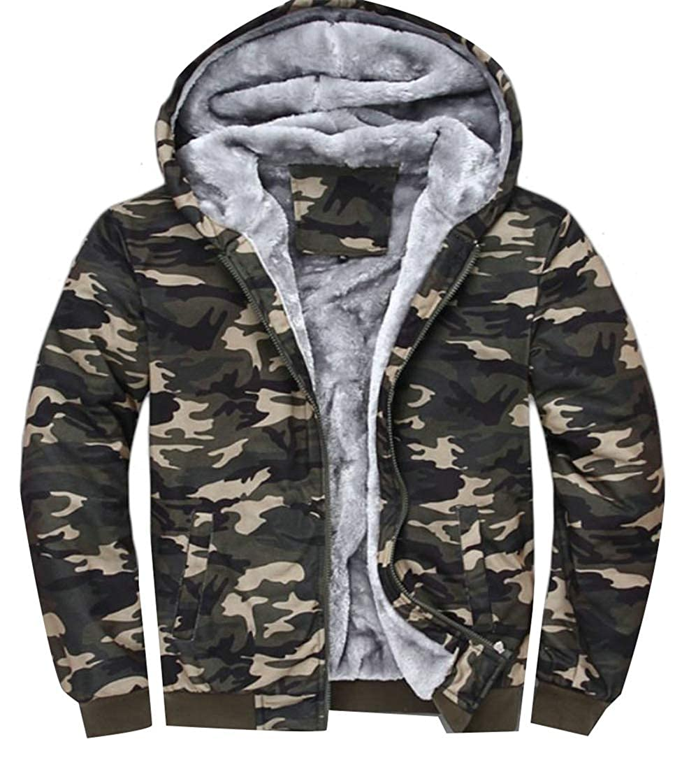 Conffetti Men Camo Hoodies Parkas Sweatshirt Fleece Thick Jacket