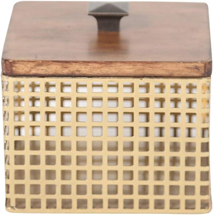 Sagebrook Home, Bronze/Brown Iron & Wood Decorative Box, 6