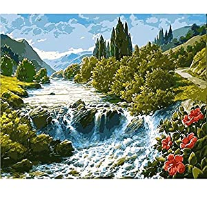 SUBERY DIY Oil Painting Paint by Number Kits for Adults Kids Beginner - Beautiful Mountain and Water Scenery 16x20 inches (Frameless)