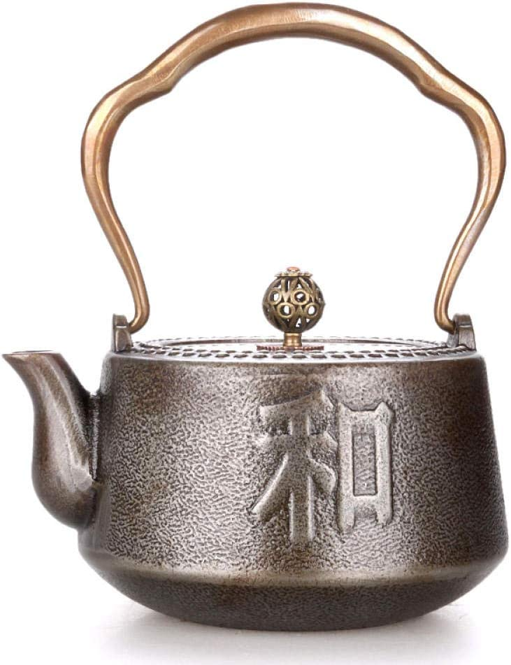 Cast Iron Teapot With Stand Uncoated Cast Iron Pot, Original Iron Orchid And Double Copper Cast Iron Pot, Handmade Tea Pot, Boiling Water 0.9L