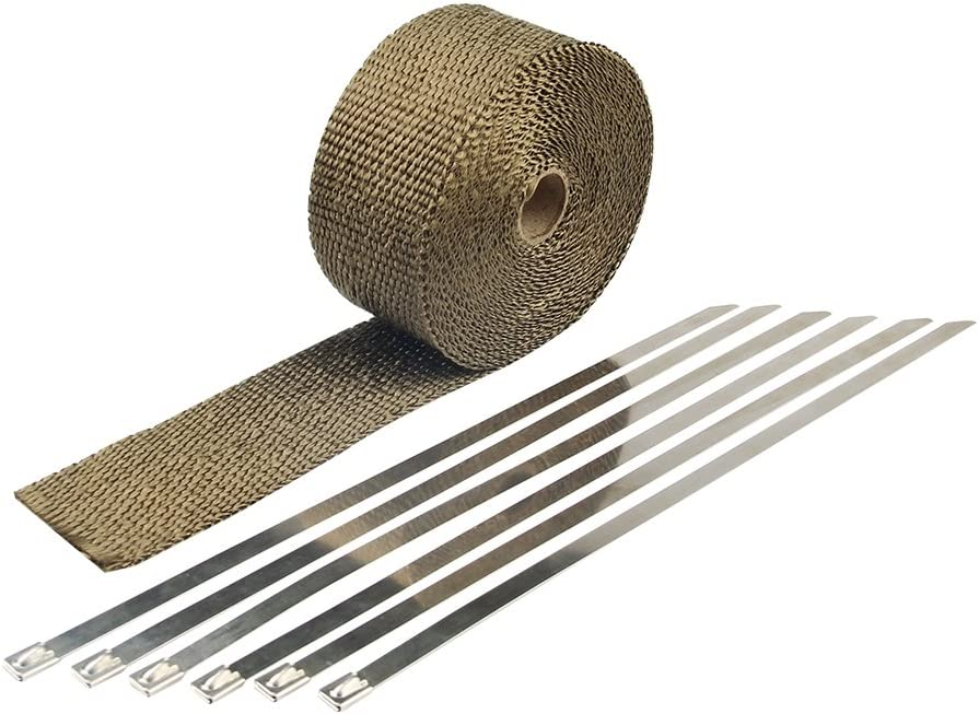 HM&FC Titanium Exhaust Wrap Roll 32Ft(L)2In(W)0.06In(T) with 6 Stainless Zip Ties and Glove