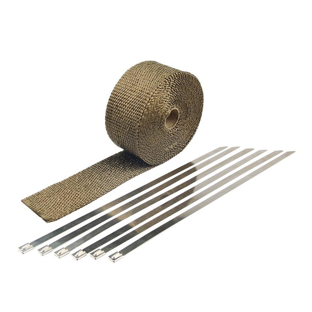 HM&FC Titanium Exhaust Wrap Fiberglass Heat Wrap 50 Feet (L)* 1 Inch(W) FY2015BC