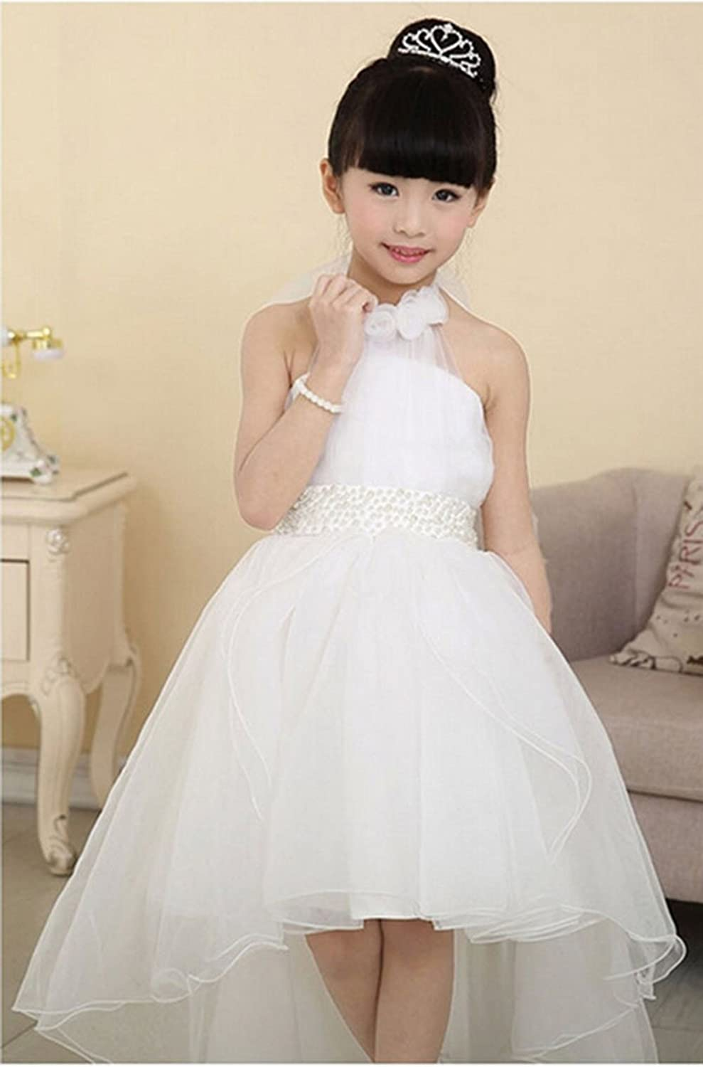 Amazon.com: Mamas-Kiddy Cute Asymmetric Halterneck Solid Mesh Long Tail Flower Girl Dress: Clothing