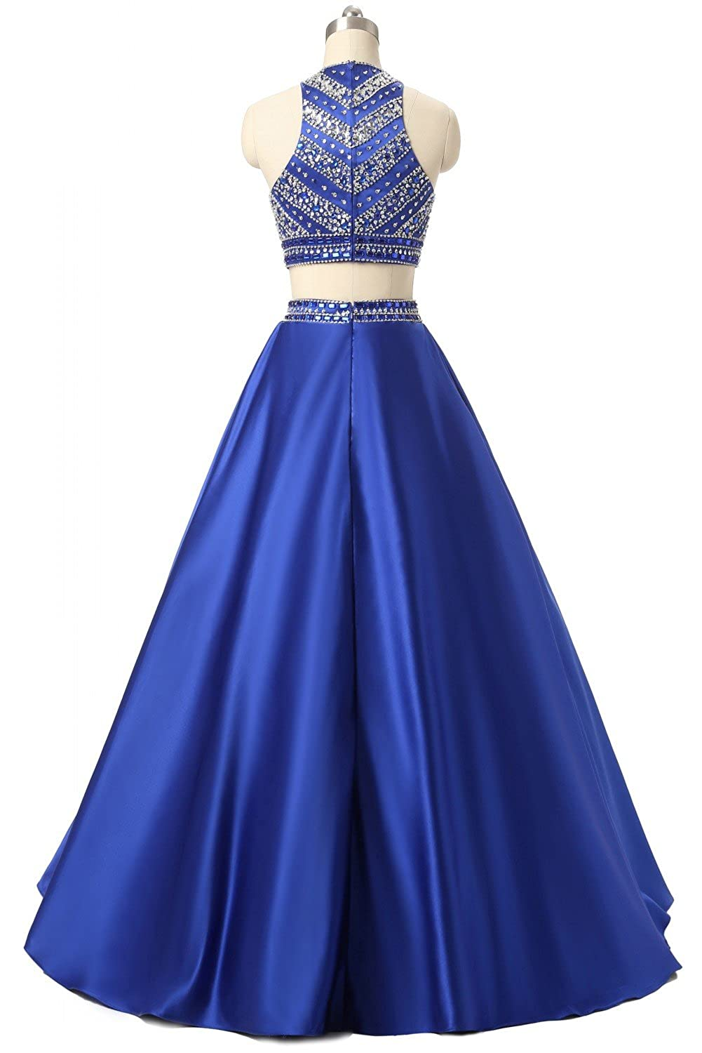 Amazon.com: Himoda Women\'s Two Pieces Beaded Evening Gowns Satin ...