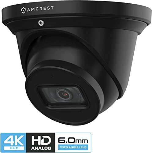Amcrest ProHD 4K Dome Outdoor Security Camera, 4K 8-Megapixel , Analog Camera, 164ft Night Vision, IP67 Weatherproof Housing, 6mm Lens, 55 Narrow Angle, Built-in Microphone, Black AMC4KDM6-B