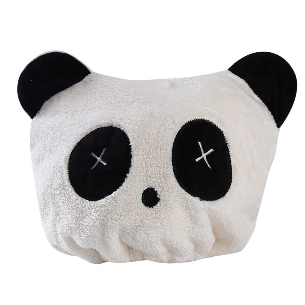 SUNSKYOO Panda Auge trockenes Haar Cap Coral Velvet Cartoon s/ü/ßes Herz Liebe Auge Print elastische Trocknung Wrap Handtuch Hut