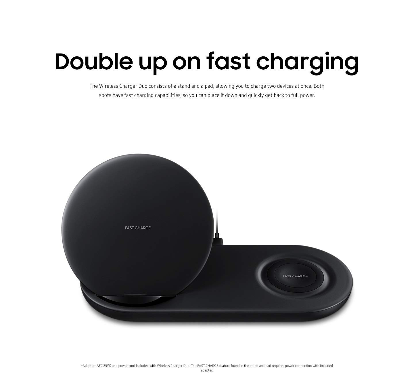Charging Stations 7.5W Renewed Samsung Wireless Charger Duo EP-N6100 Black  Cell Phones & Accessories