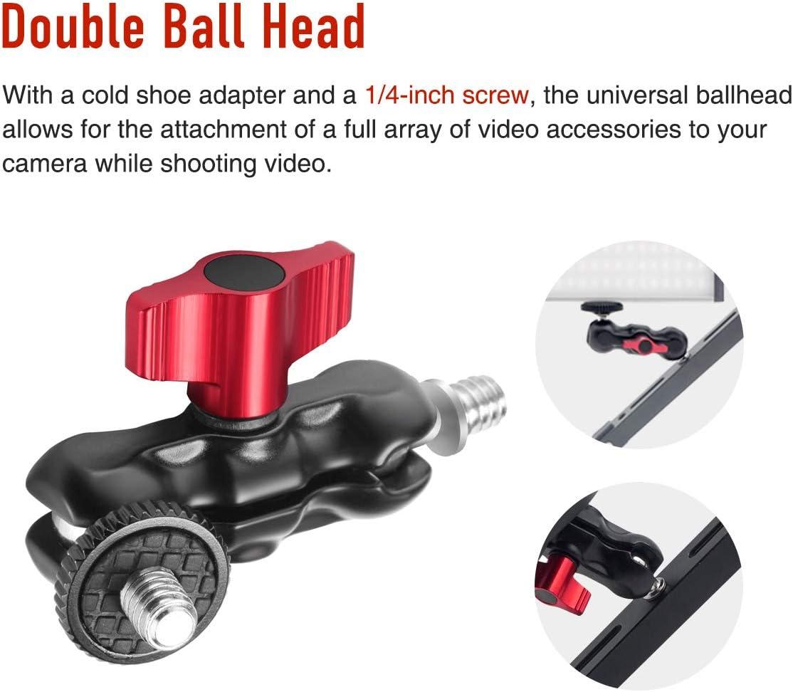 CAMVATE 1//4-20 360/° Rotating Multifunctional Double Ball Heads Hot Shoe Mount