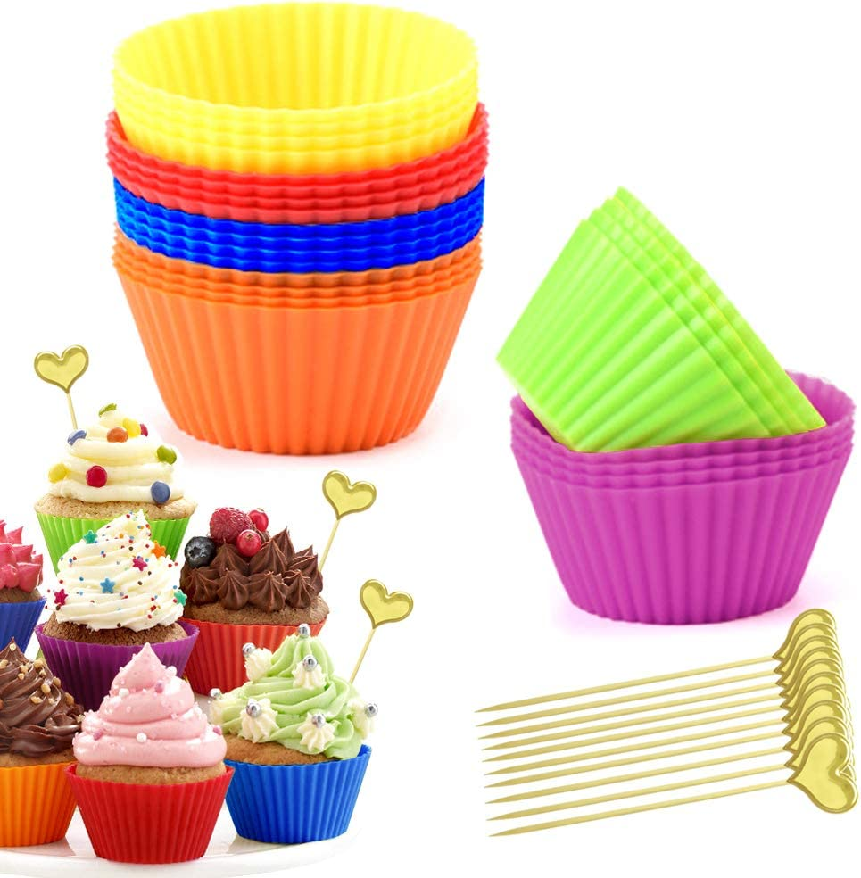 24 Pcs Silicone Muffin Baking Cups, CILLIFE Non-Stick 100% Food Grade Reusable Cupcake Liners Cake Mold with 10 Pcs Heart Cupcake Toppers for Party Christmas - 6 Rainbow Colors