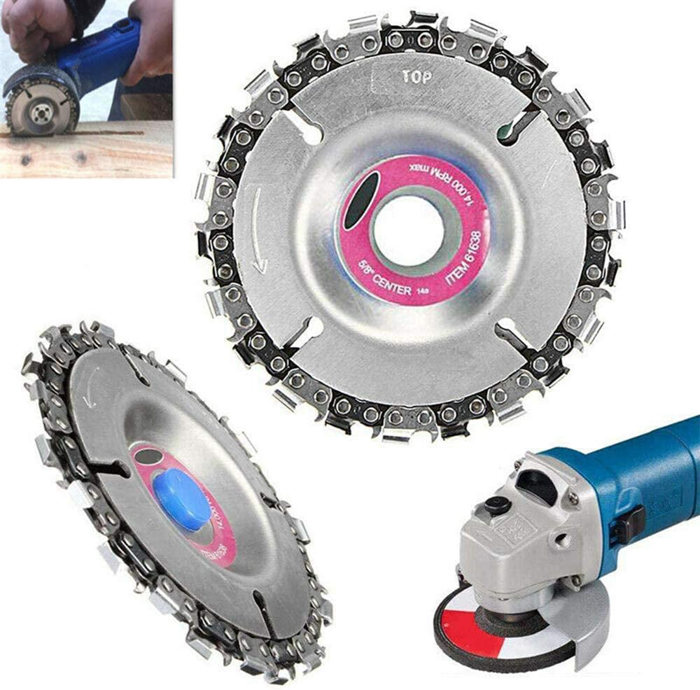 4 Inch Grinder Chain Disc 22Mm Arbor 22 Tooth Wood Carving Disc For 115//125Mm Angle Grinder