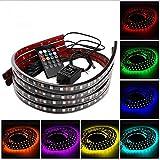 Topseller 4pcs Music Control RGB Car LED Strips Under Car Underglow Underbody Neon Lights Kit+Remote Waterproof