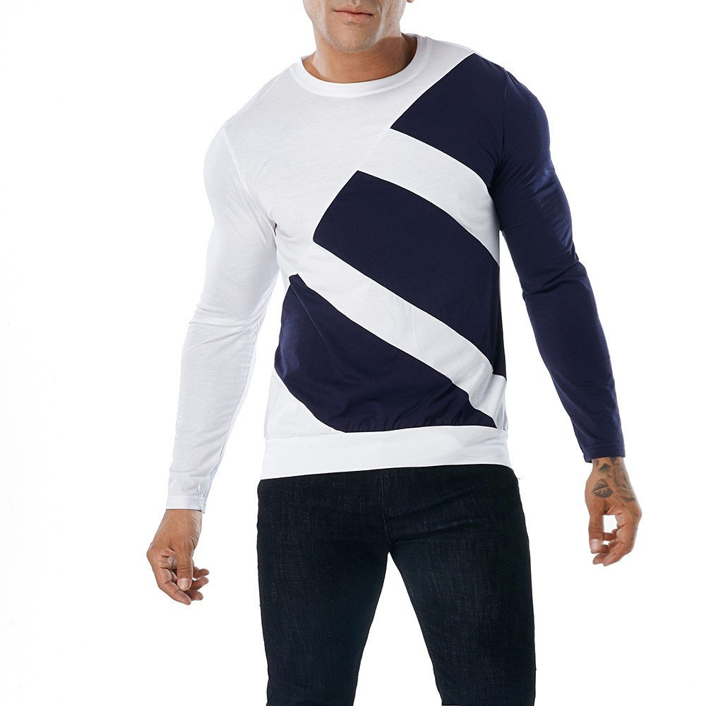 Shirts For Men, Clearance Sale !! Farjing Men's Casual Patchwork Slim Long Sleeve  T Shirt  Muscle Top Blouse (2XL,White)