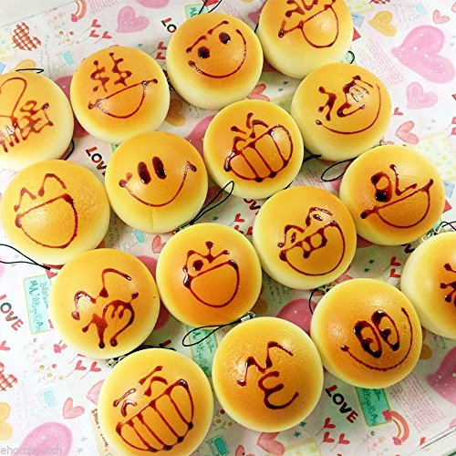 Wholesale 10x Kawaii Yellow Squishy Bread Cartoon Soft Cellphone Straps Charms Cell Phone Antenna Charm Jewelry
