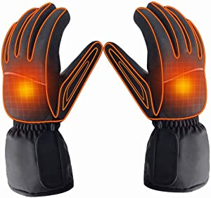 Z-YQL Battery Powered Rechargeable Heated Gloves for Men/Women, Waterproof Insulated Electric Heating Thermal Gloves for Winter Warmer Outdoor Camping Hiking Hunting