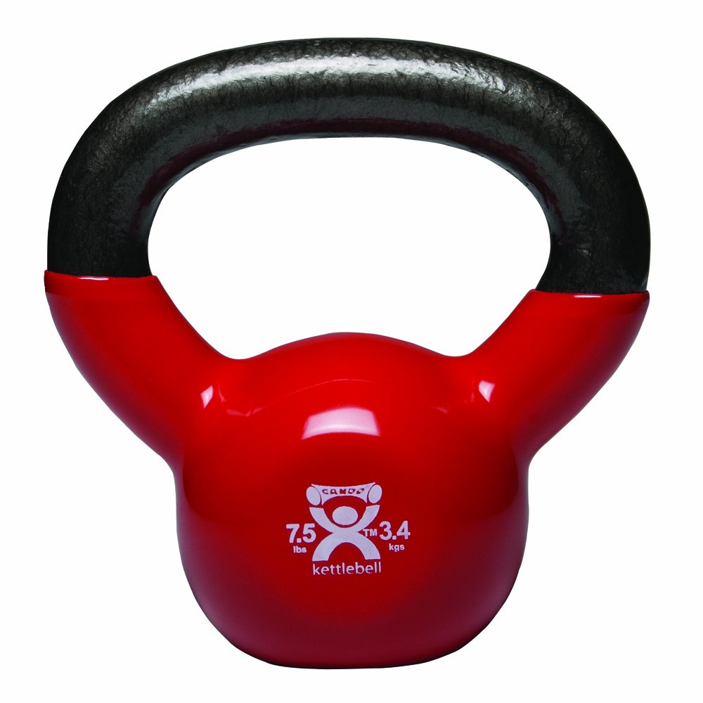 CanDo Vinyl-Coated Kettlebell, Red, 7.5 Pound
