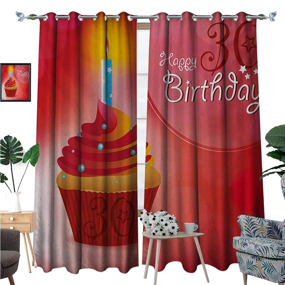 BlountDecor 30th Birthday Window Curtain Drape Cute Cupcake with Candlestick Stars Bokeh Backdrop Romantic Design Decorative Curtains for Living Room W72 x L108 Red Orange and Blue by BlountDecor