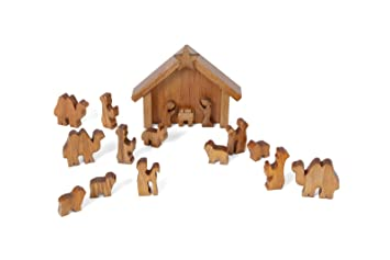 amishmade wooden nativity manger scene set 13 pieces - Wooden Nativity Set