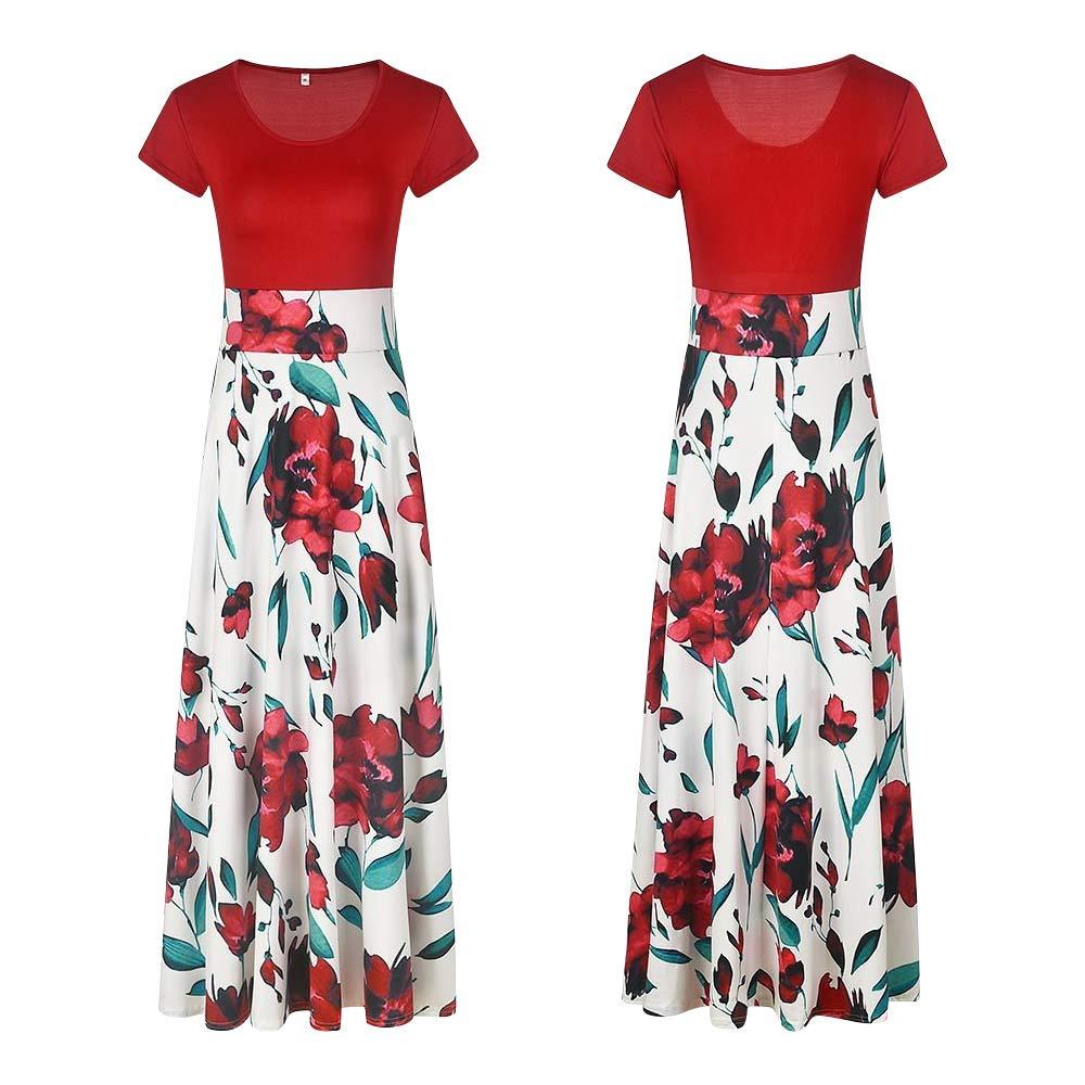 wocharm Women Print Maxi Dress Casual Party Loose Long//Short Sleeve Casual Cotton Dresses
