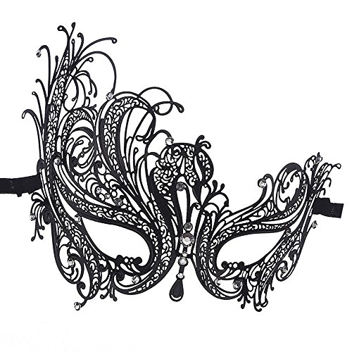 Masquerade Ball Mask Halloween Costume PartyMardi Gras, New Year's Eve Party (Black)]()