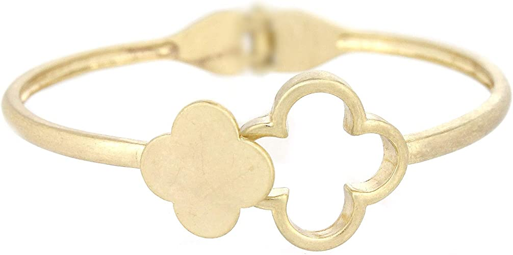 ROSE GOLD STAINLESS STEEL MOTHER OF PEARL CLOVER CUFF BANGLE STACKABLE BRACELET