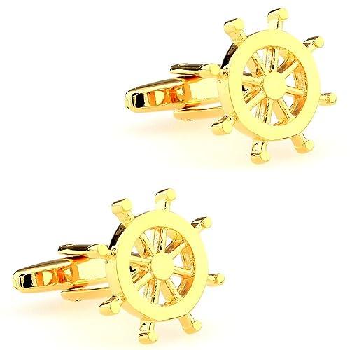 CIFIDET Gemelos Mancuernas del timón del volante de oro joyería de la camisa de los hombres de la moda con la caja de regalo: Amazon.es: Joyería