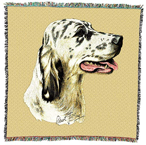 Tapestry English Setter (Pure Country Weavers - English Setter 2 Dog Woven Blanket with Fringe Cotton USA 54x54)