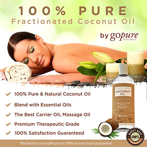 goPURE Fractionated Coconut Oil - LARGE 16 OZ - Carrier Oil, Massage Oil - Blend with Essential Oils - Add to Roll-On Bottles for Easy Application - 100% Pure Coconut Oil - Premium Therapeutic Grade