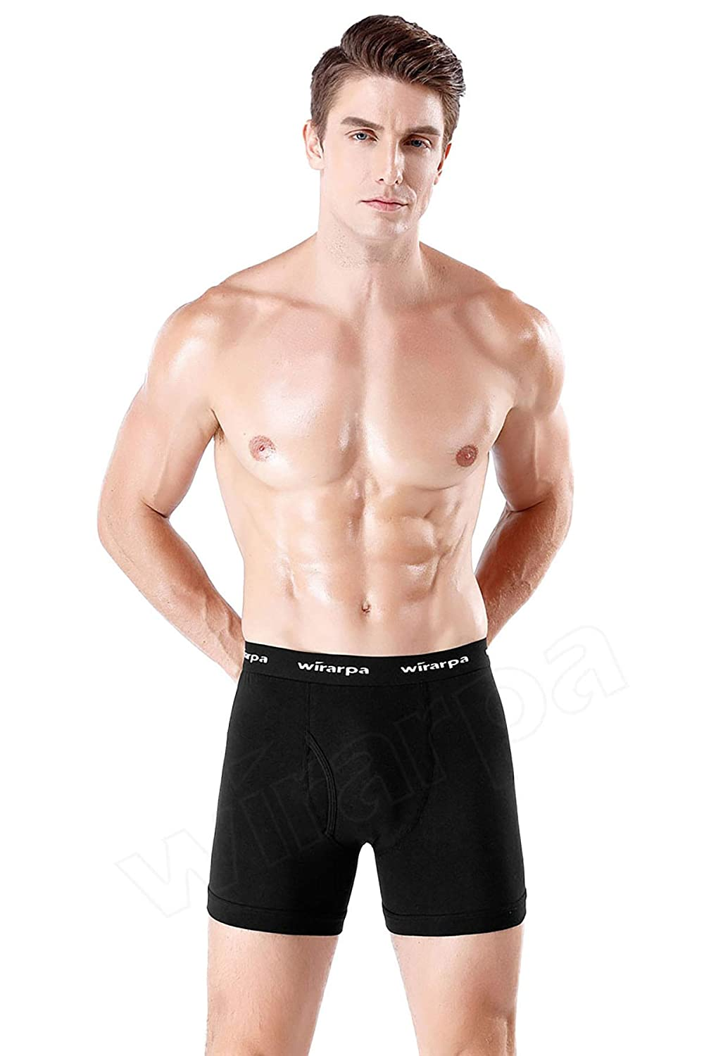 wirarpa Mens Black Boxer Briefs Cotton Stretch No Ride Up Underwear Front Fly with Pouch Underwear Multipack