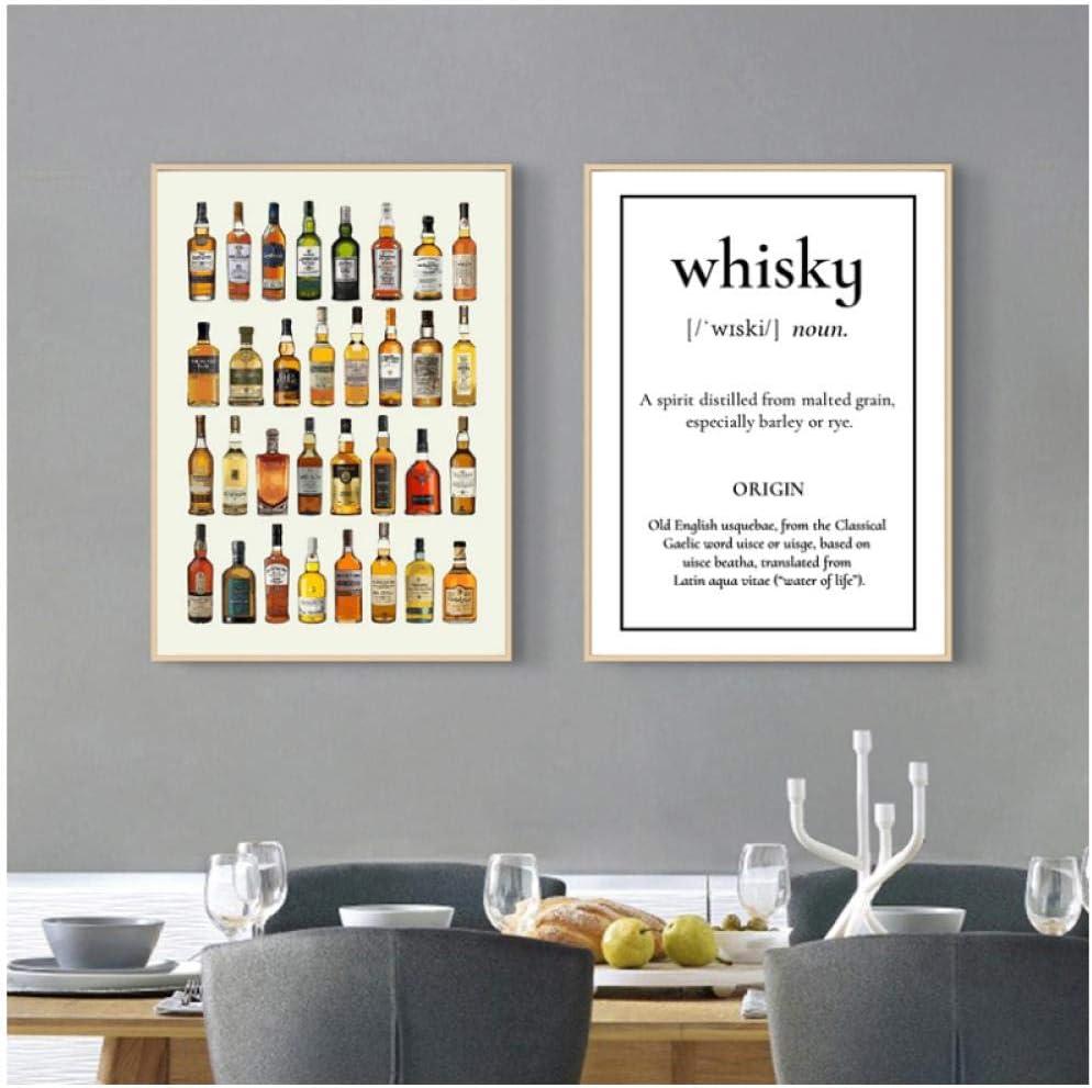 Hdksa Carteles De Lienzo De Vino Impresiones Whisky Sake Ron ...