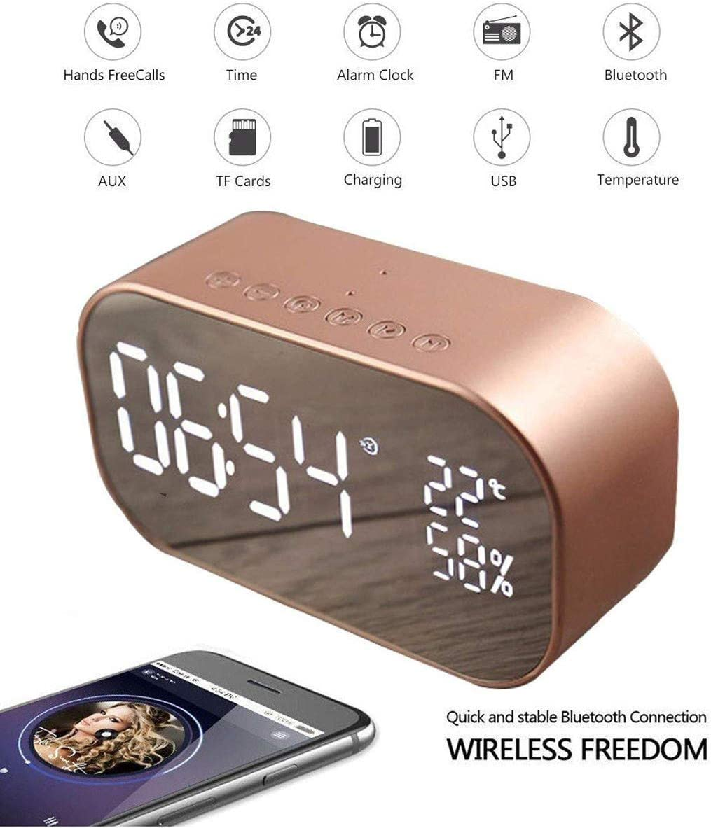 Digital Alarm Clock Wireless Speaker,AMZSTAR Metal Bluetooth Speaker,10W Subwoofers Dual Driver Stereo Speaker,Desk Alarm Clock and Large LED Display, for Kid, Home, Office, Daily Life Rose Gold