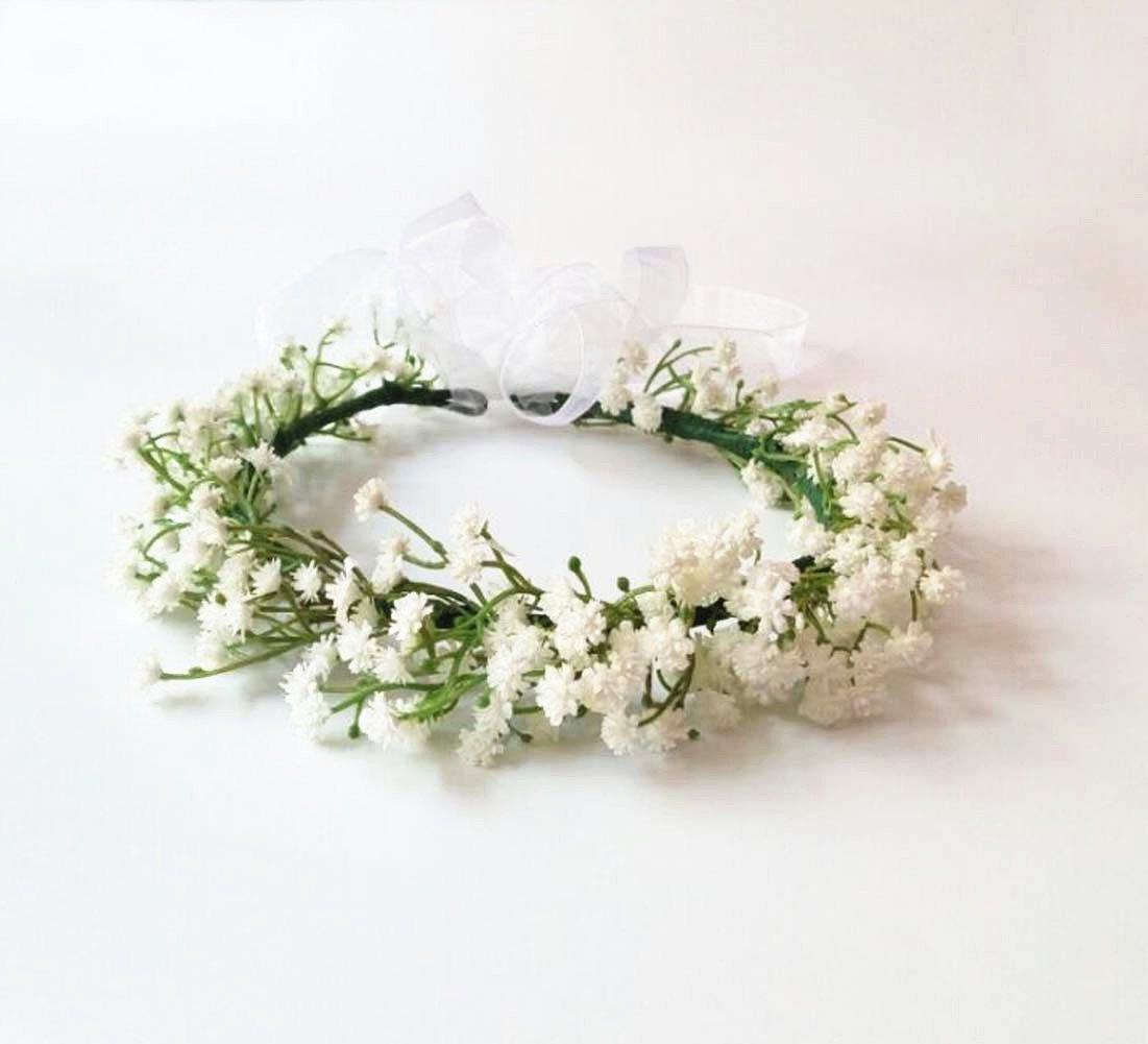 Amazon Wedding Bridal Babys Breath Bride Goddess Flower Crown