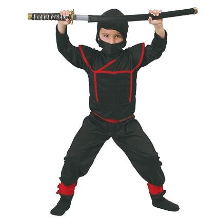 Guirca Rudy Disfraz Ninja Shinobi Samurai-Bambino 5 – 6 años, Color Negro, 81886