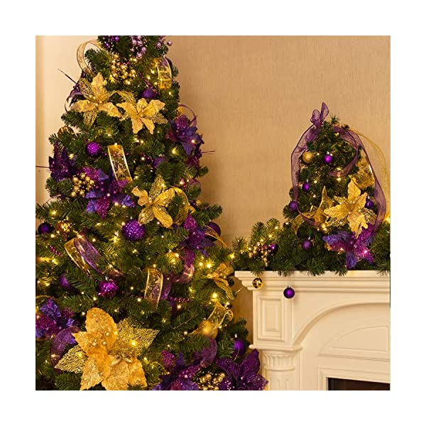 KI-Store-Large-Christmas-Poinsettia-Flower-Ornaments-for-Christmas-Tree-Decorations-Pack-of-6-Oversize-Artificial-Poinsettia-Flower-Picks-Stems-for-Xmas-Tree-Wedding-Centerpiece