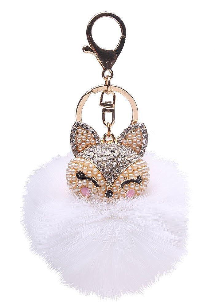 Leegoal(TM) Fox Fur Ball with Artificial Fox Head Inlay Pearl Rhinestone Key Chain (White) 000
