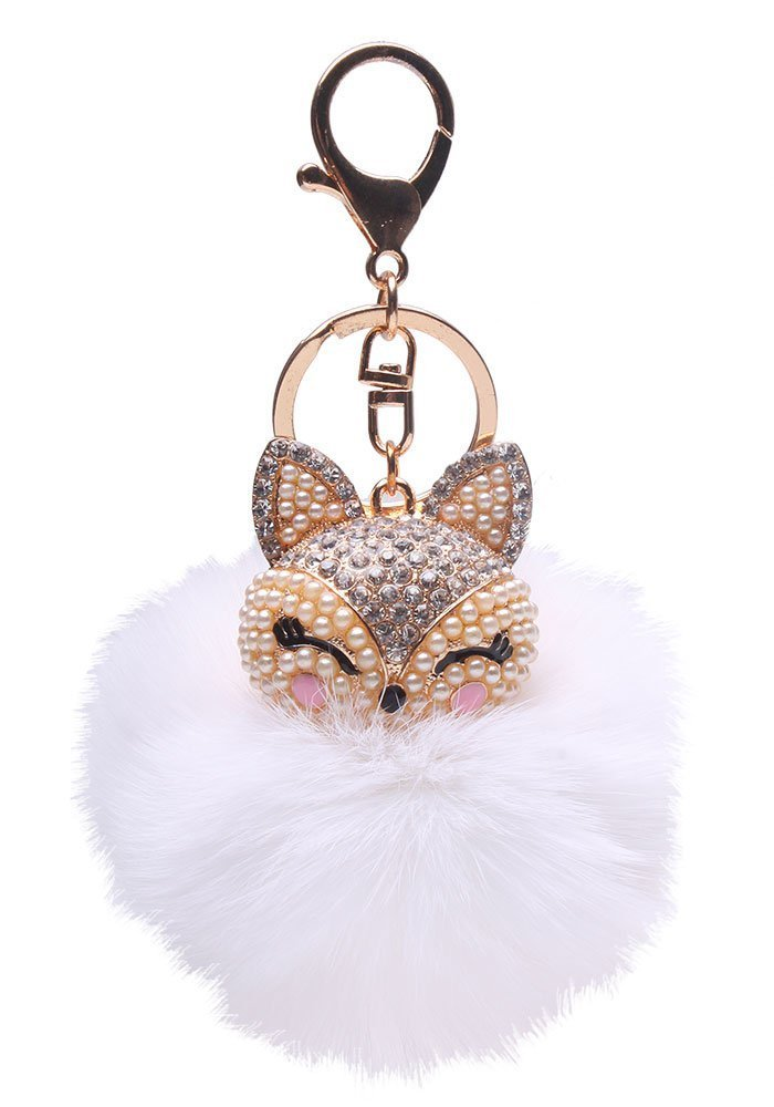 Amazon.com  Generic Real Fox Fur Ball with Artificial Fox Head Inlay Pearl Rhinestone  Key Chain for Womens Bag or Cellphone or Car Pendant (White)  Office ... 736570bb2a