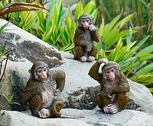 Estatuas de jardín Figura Decorativa jardín simulación figurita Impermeable jardín Estatua para Patio Paisaje césped decoración Manualidades Regalo-Rascarse la Cabeza del Mono (sección A): Amazon.es: Jardín
