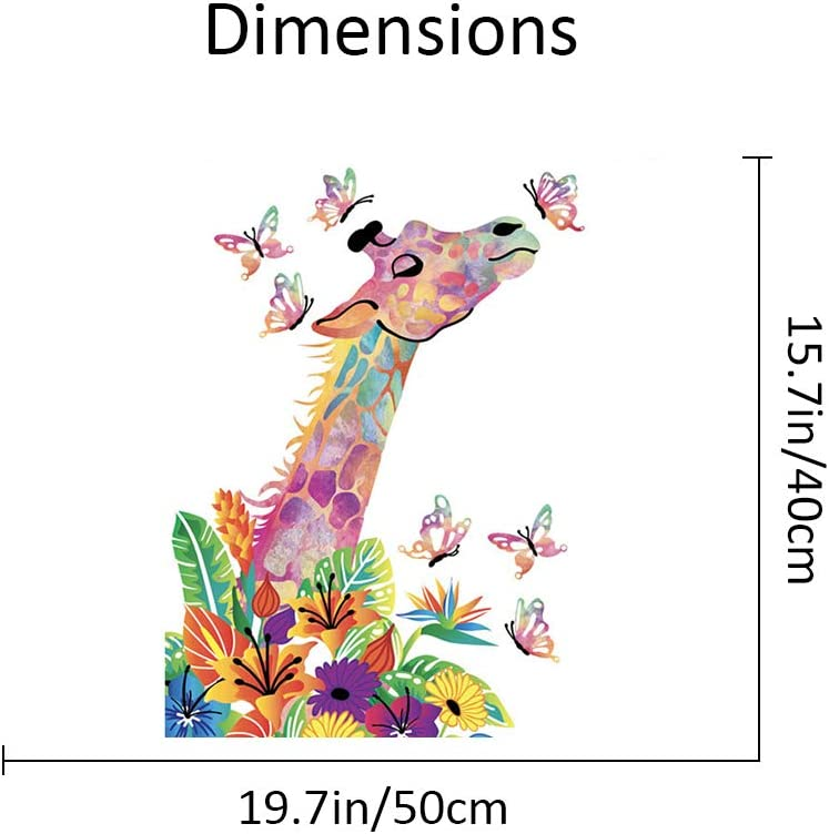 Colored Giraffe in The Flowers and Butterfly 16x20 inches Anti Stress Toys Frank S.Burton DIY Oil Painting Kit for Adults Beginner