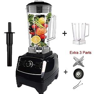 2200W Heavy Duty Commercial Blender Professional Blender Mixer Food Processor Japan Blade Juicer Ice Smoothie Machine,black jar fullpart,UK Plug