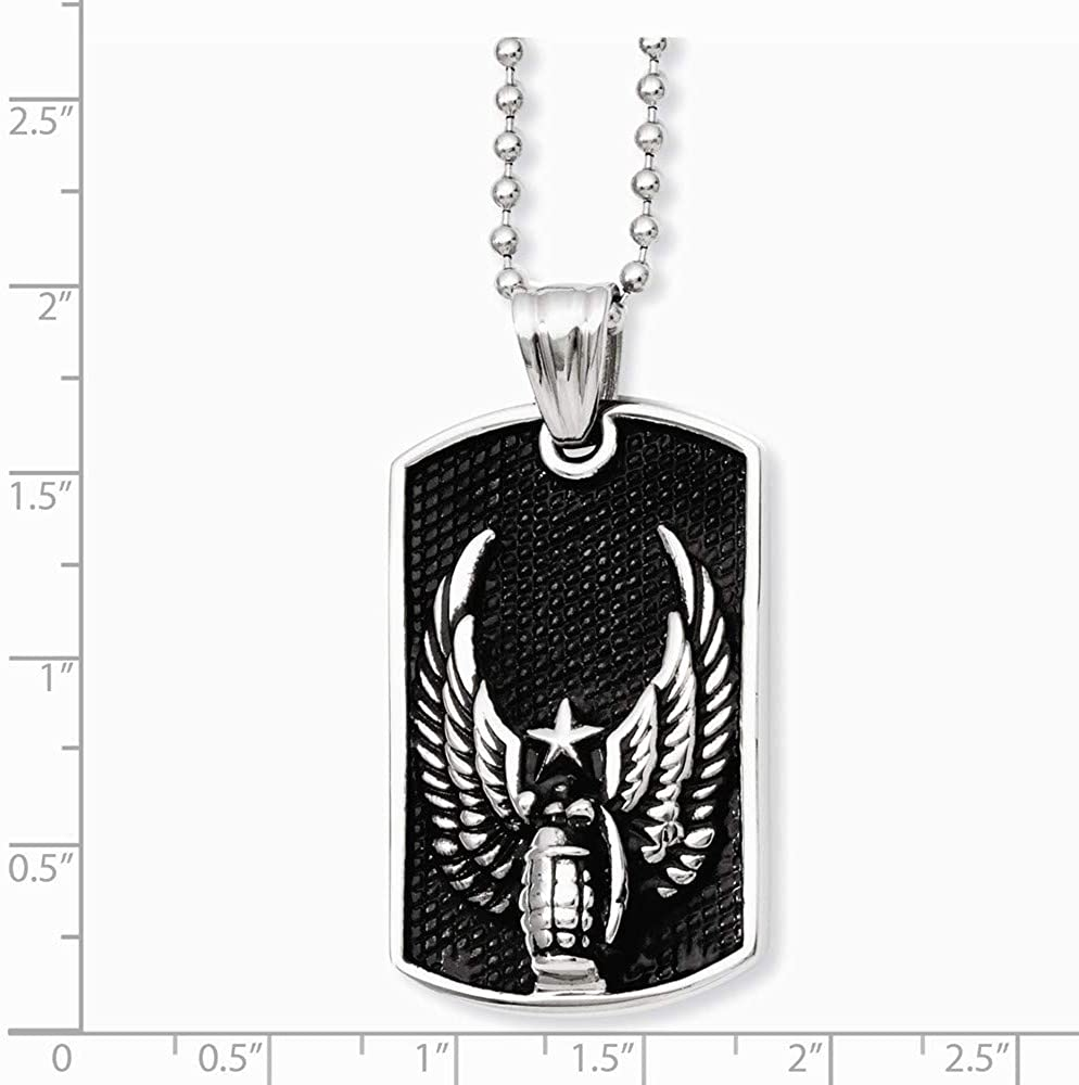 Stainless Steel Polished IP Black-Plated Fancy Lobster Closure Antiqued Wings Dog Tag Pendant 22inch Necklace 22 Inch