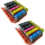 PerfectPrint Compatible Ink Cartridge Replacement for Canon Pixma iP4200 iP4300 iP4500 iP5100 iP5200 iP5200R iP5300 MP500 MP530 MP600 MP600R MP610 MP800 MP800R MP810 PGI-5/CLI-8 (BK/C/M/Y, 10-Pack)
